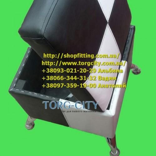 Пуф с ящиком 40х40х44 см Комби, кожзам обычный, на четырех хром ногах