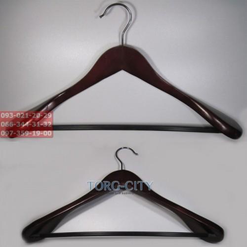 Вешалка деревянная с широким плечом темная (махонь) 45/5.5 см