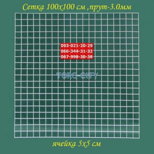 Сетка 100х100 см. Клетка 5х5 см, Прут-3.0 мм