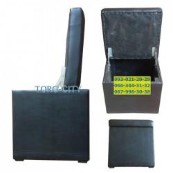 Пуф с ящиком 40х40х44 см,  обычный кожзам