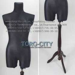 Манекен 42 р.Пошиво - выставочный  брючный  белый , черный на деревянной ноге Польша
