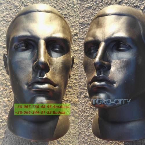 манекен Голова  Мужская черная  d-51см , пластик ,только опт 30 шт