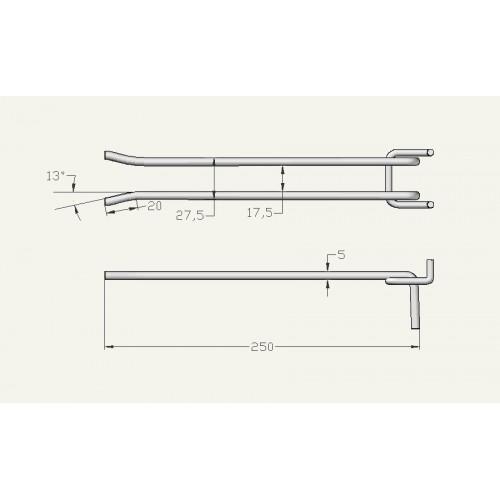 Крючок для гаечных ключей 250 мм, на перфорацию