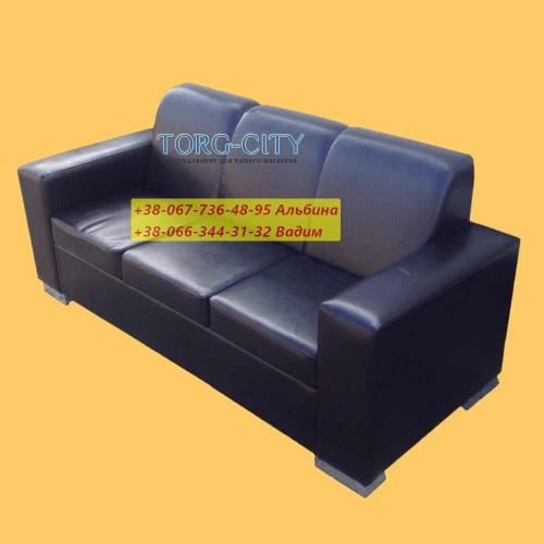 Диван офисный, 200х65х70 см,  глубина сидения 45 см, кожзам усиленный