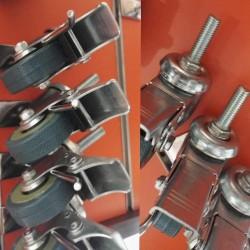 Колесо с резьбой   штифт 10 мм. с тормозом,металлическое, прочное